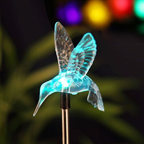Outdoor Solar Garden Stake Light - Color Changing Decorative LED Stake Lamp in-Ground Landscaping Lighting for Garden Patio Yard Lawn Pathway Flower Bed Decor Decorations Figurine Hummingbird - Hummingbird Stake Light