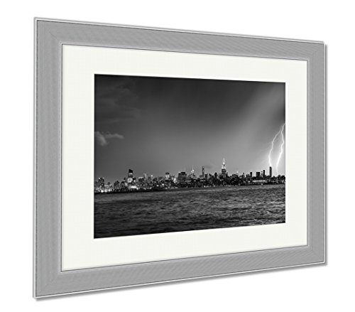 Ashley Framed Prints Lightning Hitting A New York City Skyscraper At Twilight Stormy Skies Over, Wall Art Home Decoration, Black/White, 34x40 (frame size), Silver Frame, - And Nyc Shade Manhattan Glass