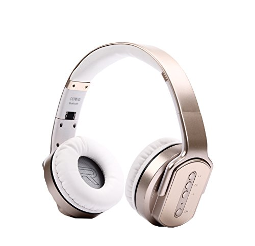 Weida Foldable Headset Bluetooth Wireless Stereo Combo Headphones  Gold