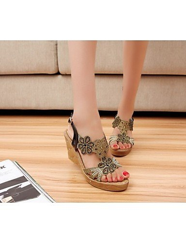 ShangYi Womens Shoes Glitter / Customized Materials Wedge Heel Wedges Sandals Wedding / Office / Dress Black / Gold golden