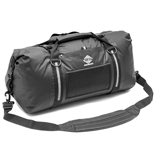 (Aqua Quest White Water Duffel - 100% Waterproof 50 L Bag - Lightweight, Durable, External Pockets - Black)
