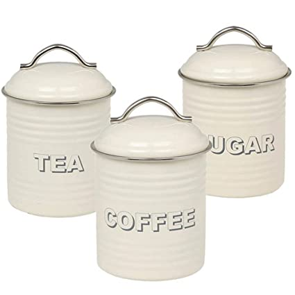Retro Tea Coffee Sugar Canisters Cream