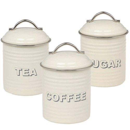 Set de 3 botes metálicos para té, café y azucar, diseño retro, color crema Lesser & Pavey