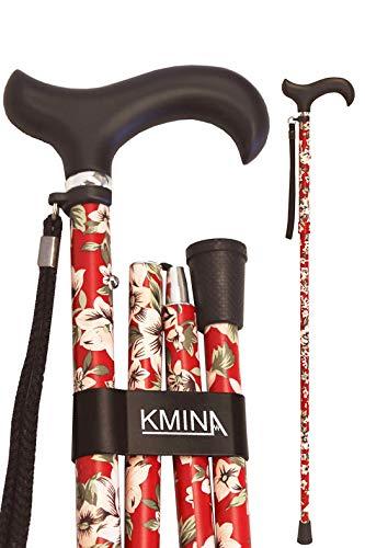 KMINA - Bastones plegable para mayores, Baston hombre y mujer, Bastones para ancianos, PRO Flores Rojas Plegable
