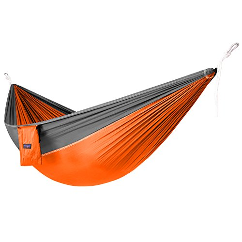 Yes4All Lightweight Double Camping Hammock with Carry Bag – Nylon Parachute Hammock/Lightweight Portable Hammock for Camping, Hiking (Orange/Grey)