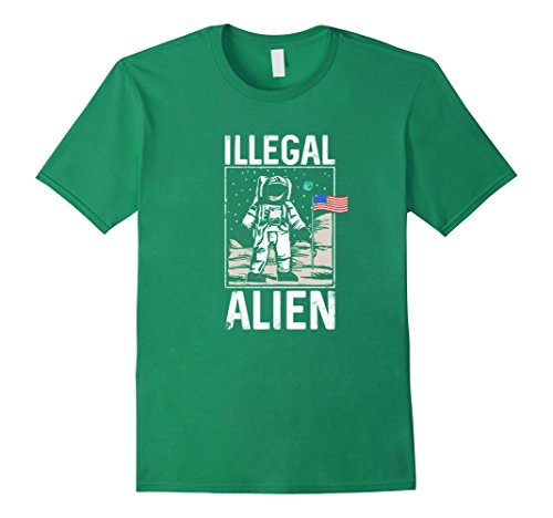 Mens Illegal Alien Astronaut on the Moon Funny T Shirt XL Kelly Green
