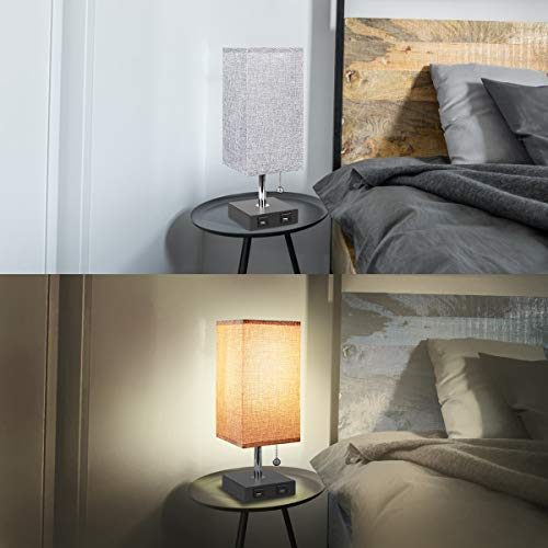USB Table Lamp, Aooshine Bedside Table Lamps with 2 Useful USB Charging Ports, Solid Wood Nightstand Lamp with Grey Fabric Shade, Ambient Light Perfect for Bedroom, Living Room, Study Room (Pack of 2)