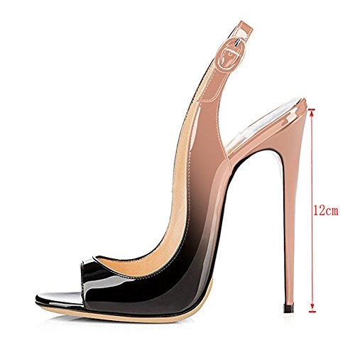 EKS Women Peep Toe Pumps Slingback High Heels Ladies Stilettos Court Shoes Plus Size 3-11 UK Nude-Black 5pKR1V9