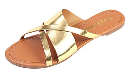 Womens Sandals Open Toe Ankle Strap Cage Cutout Flat Strappy Flats Flip Flops (7, Yellow Gold)