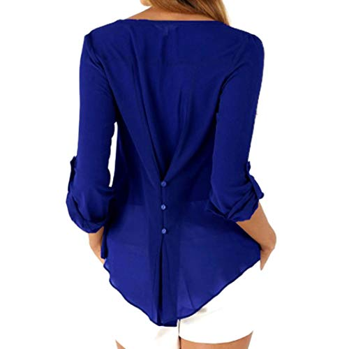 Pure Retrousser de Longues dcontract Manches Blouse V en Chemise Couleur Mousseline en Les pour Bouton Soie Bleu Fonc Sixcup Femmes Col Chemisier qHxw8xF