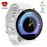 Byoung Smart Bracelet Fitness Watch, 1.22 inch Smart Watch with Blood Pressure IP68 Waterproof Health Tracker with Heart Rate Monitor,Step Counter, Pedometer, Calorie Counter for Men Women Kid, White