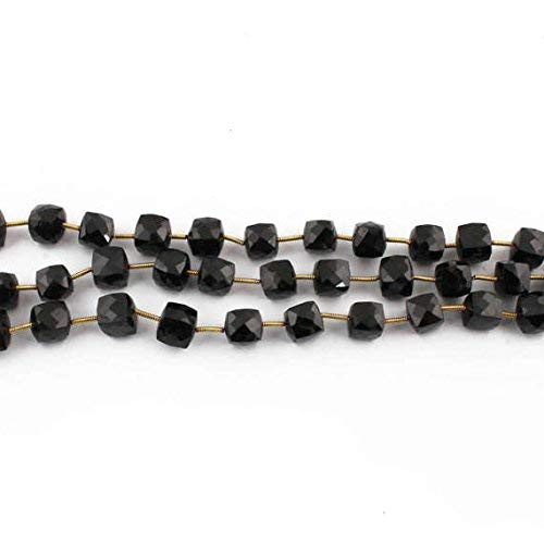 4 Strands Black Onyx Faceted Cube Beads Briolettes - Box Shape Beads 8mm-9mm 8 Inch by Gemswholesale