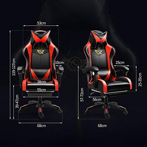 Stolar, kontorsstolar, fåtöljer, justerbar liggande hem dator kontor stol spel E-sportstol ergonomisk vilstol svängbar stol – svart