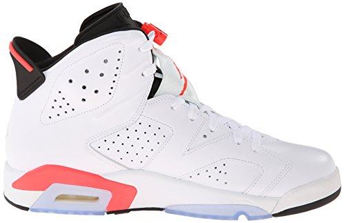 Nike Hommes Air Jordan 6 Rétro Chaussures De Basket En Cuir Blanc, Infrarouge-noir