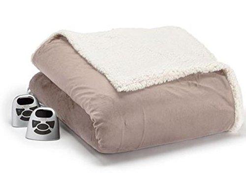 Biddeford 6001-9051136-713 Electric Heated Micro Mink/Sherpa Blanket, Full, Linen ()