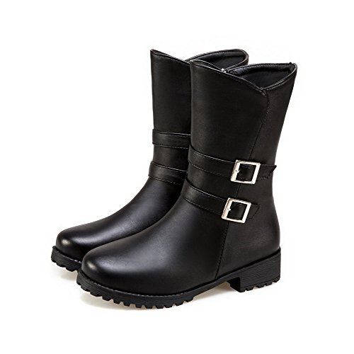 Women's PU Round Black Solid Heels Boots AgooLar Zipper Low Toe gqwx7UB