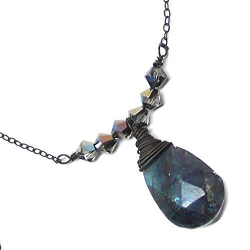Blue-Coated Labradorite 16x10mm Briolette Wire-Wrapped Oxidized Sterling Silver Dainty Bar Chain