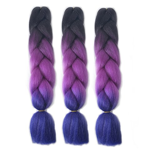 MSHAIR Ombre Jumbo Braiding Hair Extension Synthetic Kanekalon Fiber for Twist Braiding Hair Black/Purple/Dark Purple Color 24 Inch 3 Pieces/lot
