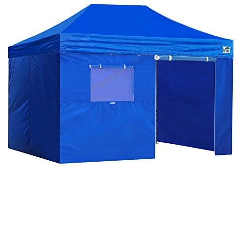 Eurmax Basic 8x12 Ez Pop up 4 Wall Canopy Instant Outdoor Party Tent Shade Gazebo+4 Sidew Walls (Blue)