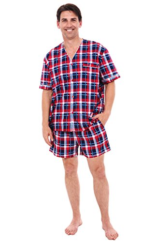 (Alexander Del Rossa Mens Cotton Pajamas, Short V-Neck Woven Pj Set, Large Red Plaid (A0698R14LG))