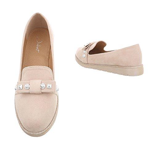 Damen Schuhe Halbschuhe Slipper Beige