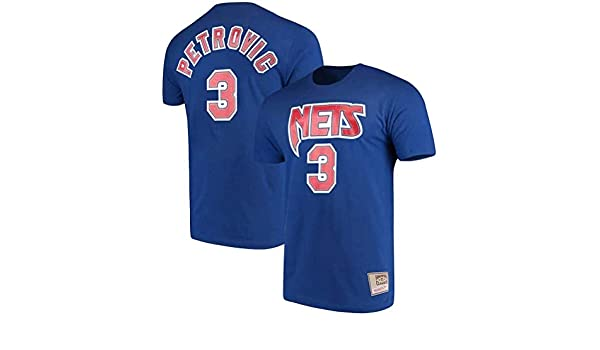 WZ Camiseta De Los Hombres De La Ropa De Baloncesto Brooklyn Nets # 3 Drazen Petrovic Camiseta Camisetas Hombre Negro Ronda Cuello Manga Corta Los Hombres,3XL:185~190cm