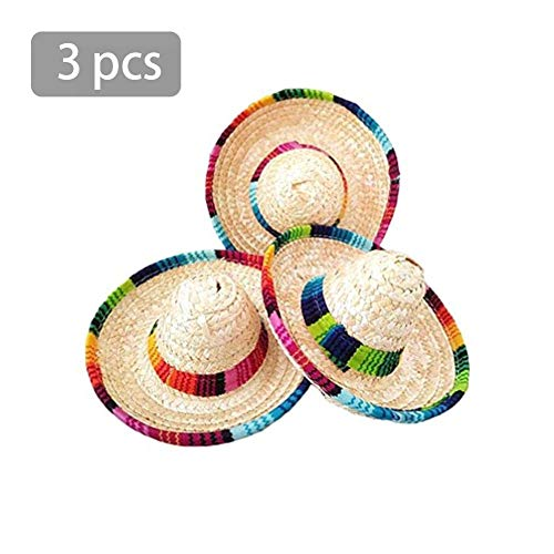 (Red-eye 3 Mini Mexican Hat - Crazy Nights Natural Straw Mini Hats for Mexican Theme Desktop Party Supplies, Cinco De Mayo Party)