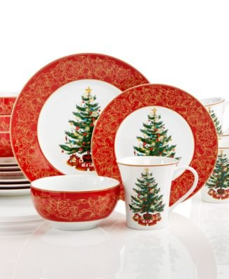 222 Fifth O' Tannenbaum 16-Pc. Set, Service for 4