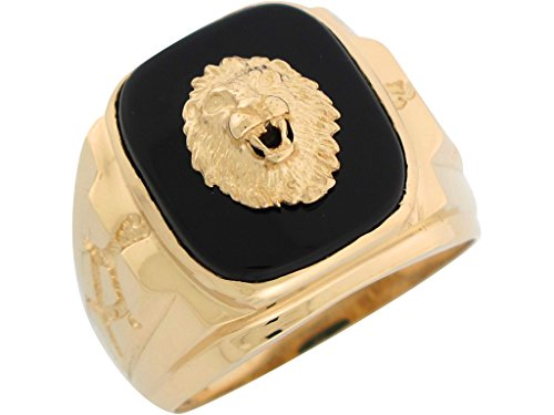10k Yellow Gold Onyx Regal Lion Head Mens Nugget Style Ring by Jewelry Liquidation (Image #1)