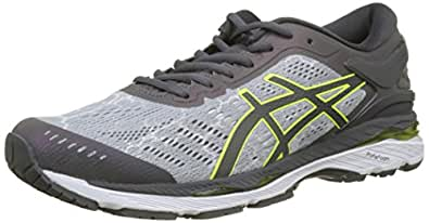 Asics Gel-Kayano 24 Lite-Show, Zapatillas de Running para Hombre, Gris (Mid Dark Grey/Safety Yellow 9695), 41.5 EU