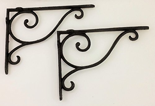 (Aunt Chris' Products - [Lot/Set of 2] - Shelf Bracket With Simple Thin Victorian Scroll Design - Wrought Iron - All-Purpose Hanger - Dark Rustic Bronze Primitive Design - Indoor)