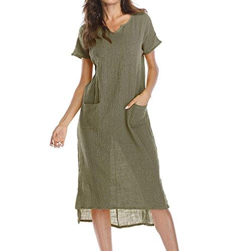 Keerads Womens Longue Robe Midi Plissée Taille Plus Robe Swing Lâche Avec Des Poches Vertes
