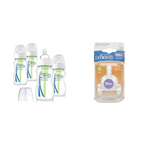 Dr Brown's Options Wide Neck Bottle (270 ml, Pack of 4) with Teats (Level 3)