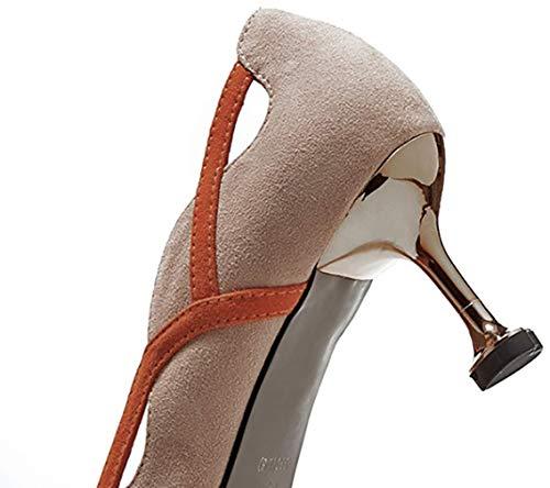 Punta Zapatos 6 tac Mujer de Puntiaguda 5CM Qaicm Ponerse Arraysa wvPqAE