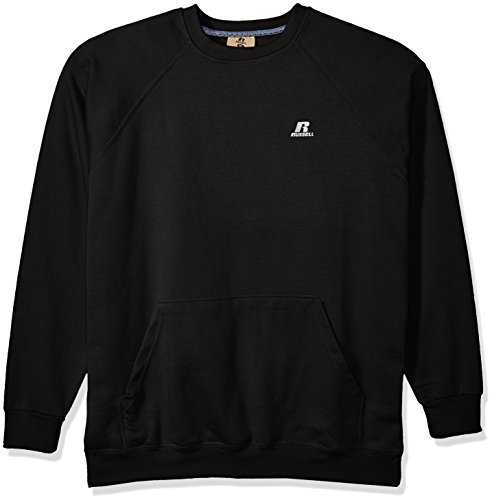 Russell Athletic Men's Big and Tall Fleece Pull Over with Pouch Pkt with Lc r, Black, 2XT