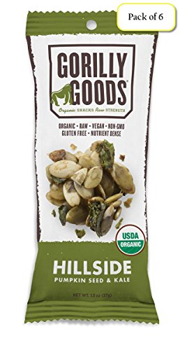 Gorilly Goods Organic Raw Vegan Trail Mix Individual Snack Packs (HILLSIDE - Pumpkin Seed & Kale), 1.3 Oz Bag (Pack of 6)