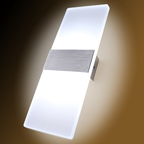 Kernorv LED Wall Sconces Light Modern and Fashion Cool White Modern Wall Sconce Decorative Lamps for Bedroom Living Room Balcony Porch Stairway Office Hotel and Hallway 11.4'' x 4.3'' (12W, 6000K) by Kernorv (Image #2)