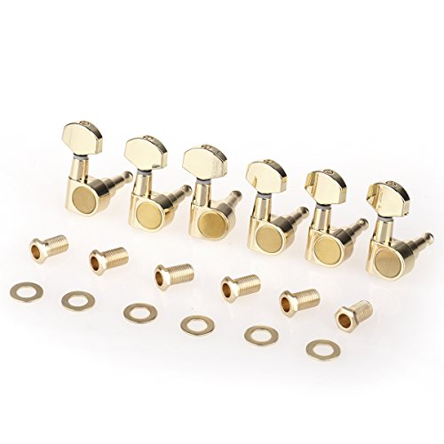 Musiclily Pro 6 in Line Sealed Dual Pin Guitar Tuners Tuning Pegs Keys Machine Heads Set for Squier Strat, Gold ()