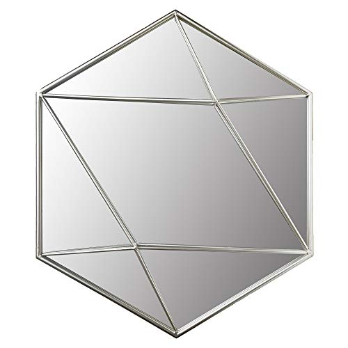 24 Silver Metal Hexagon Wall Accent Mirror