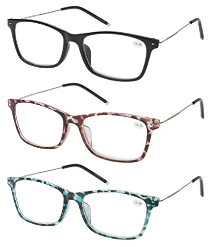 Reading Glasses 3 Pair Great Value Quality Readers Thin Temple Lightweight Comfort for Men and Women Glasses for Reading 2.5
