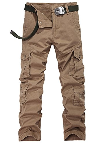 Jollypicks Men's Fall Fashion Outdoor Mid Rised Candid Leg Cargo Pants Yellow 29