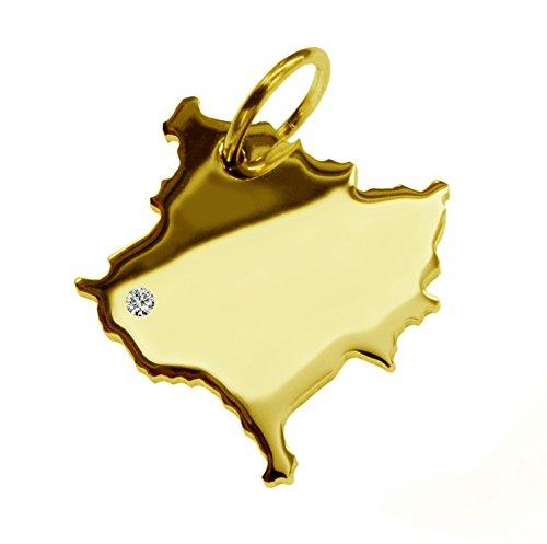 Endroit Exclusif Kosovo Carte Pendentif avec brillant à votre Désir (Position au choix.)-massif Or jaune de 585or, artisanat Allemande-585de bijoux