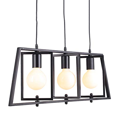 BAYCHEER HL442895 Industrial Wrought Iron Geometrtic Style Multi-Light Pendant Light Chandelier Hanging Lamp Celling Lights Fixture Finish for Indoor Bar Warehouse Hallway Use 3 E26 Bulbs in - Rectangle Name Pendant