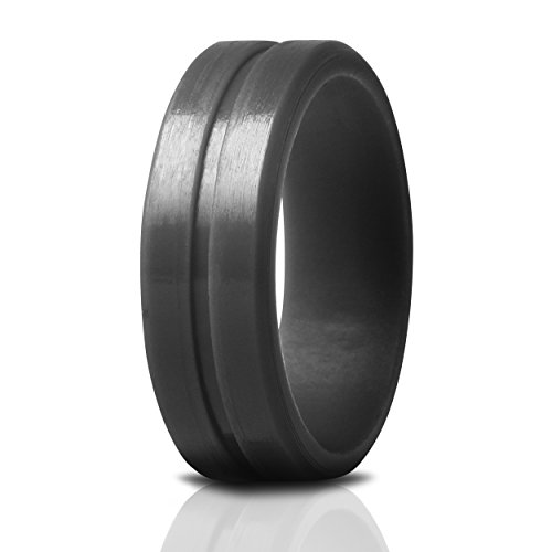 Saco Band Silicone Ring Wedding Bands for Men (Dark Gray, 11.5-12 (21.3mm)) -