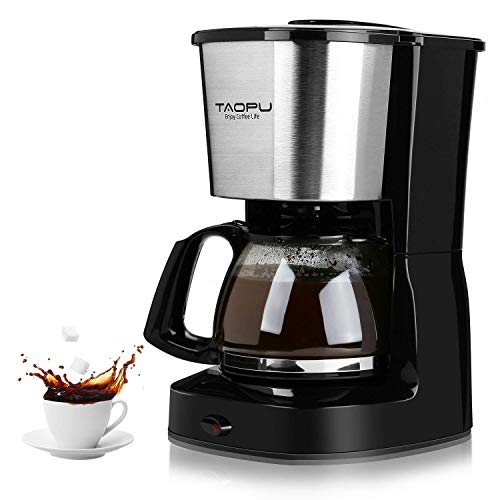 Coffee Maker,Drip Coffee Maker with 0.65L/4-5 Cups with Glass Carafe and One Touch Button,Coffee Machines With Stainless Steel Decoration(Black)