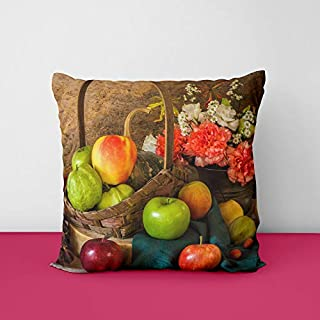 41TfUkTfIwL. SS320 Apples Pears Flowers Square Design Printed Cushion Cover