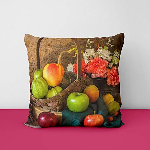 41TfUkTfIwL Apples Pears Flowers Square Design Printed Cushion Cover