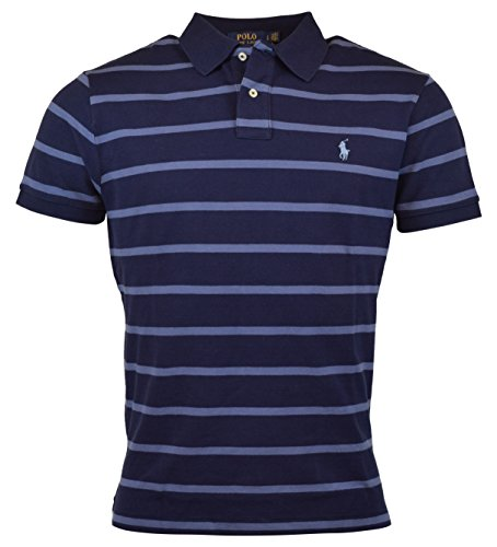 Polo Ralph Lauren Mens Custom Fit Striped Polo Shirt ( Navy/Blue, - Polo Navy Ralph Lauren Blue