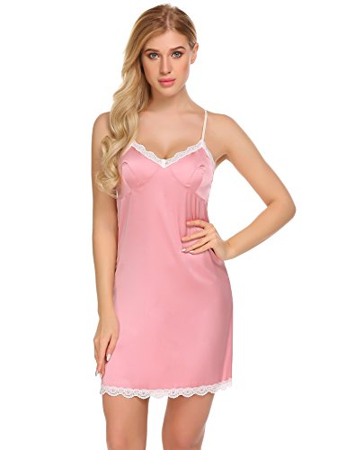 Ekouaer Plus Size Satin Nightgown, Women's Women's Satin Lace Chemise Silky Lingerie (Silk Nightgown Pink)