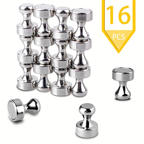 RUXIFEY Brushed Nickel Small Magnets Push Pins 16 Pcs Strong Magnetic Tacks Home Classroom Office Fridge Heavy Duty Hooks for Whiteboard, Dry Erase Board, Map, Refrigerator